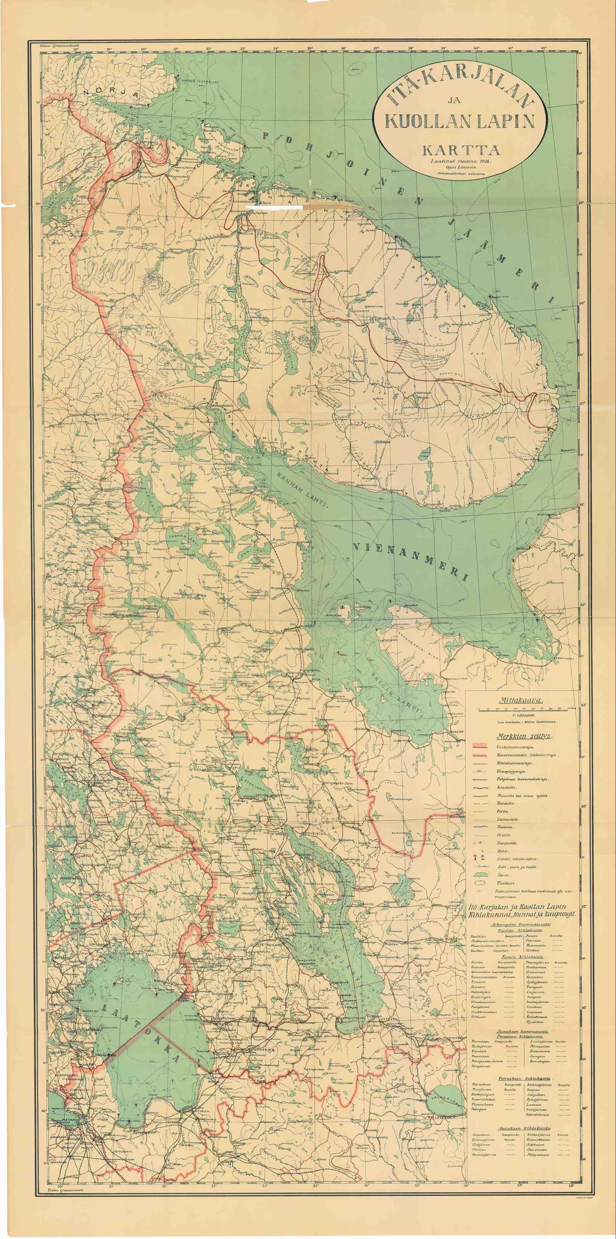 Ita Karjalan Ja Kuollan Lapin Kartta Laatinut Vuonna 1918 Onni