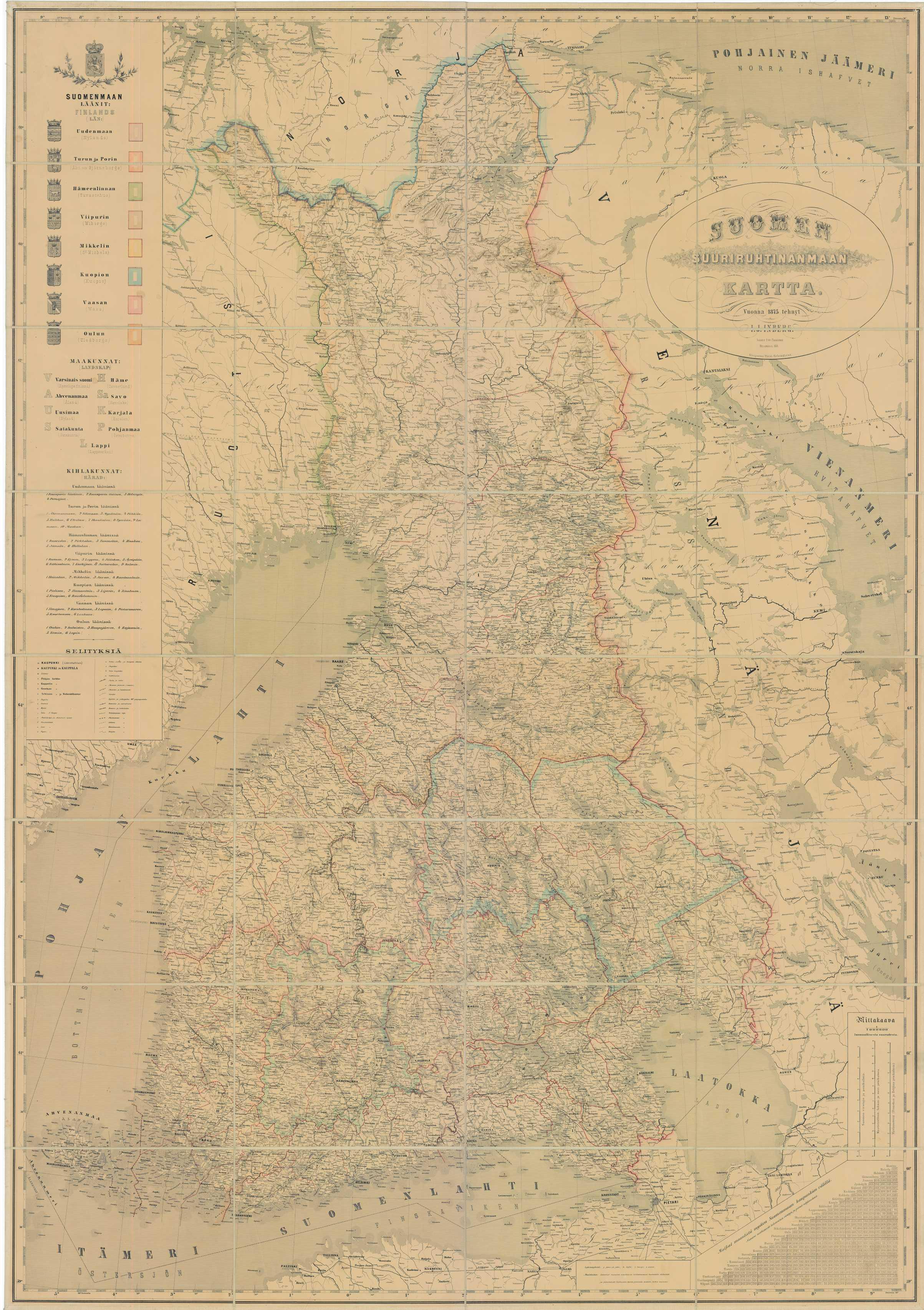 Suomen Suuriruhtinanmaan Kartta Vuonna 1875 Tehnyt I J Inberg