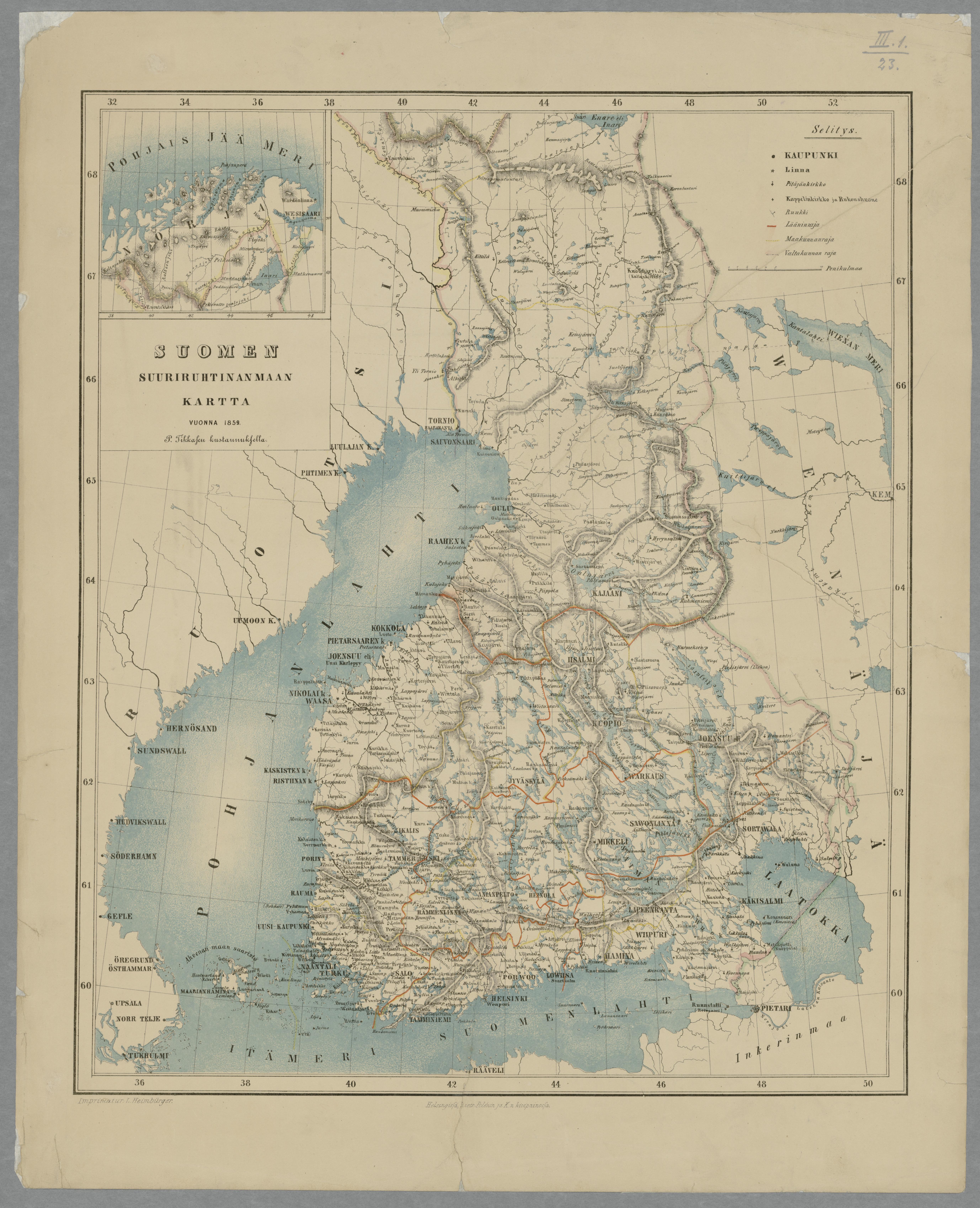 Suomen Suuriruhtinanmaan Kartta Vuonna 1859