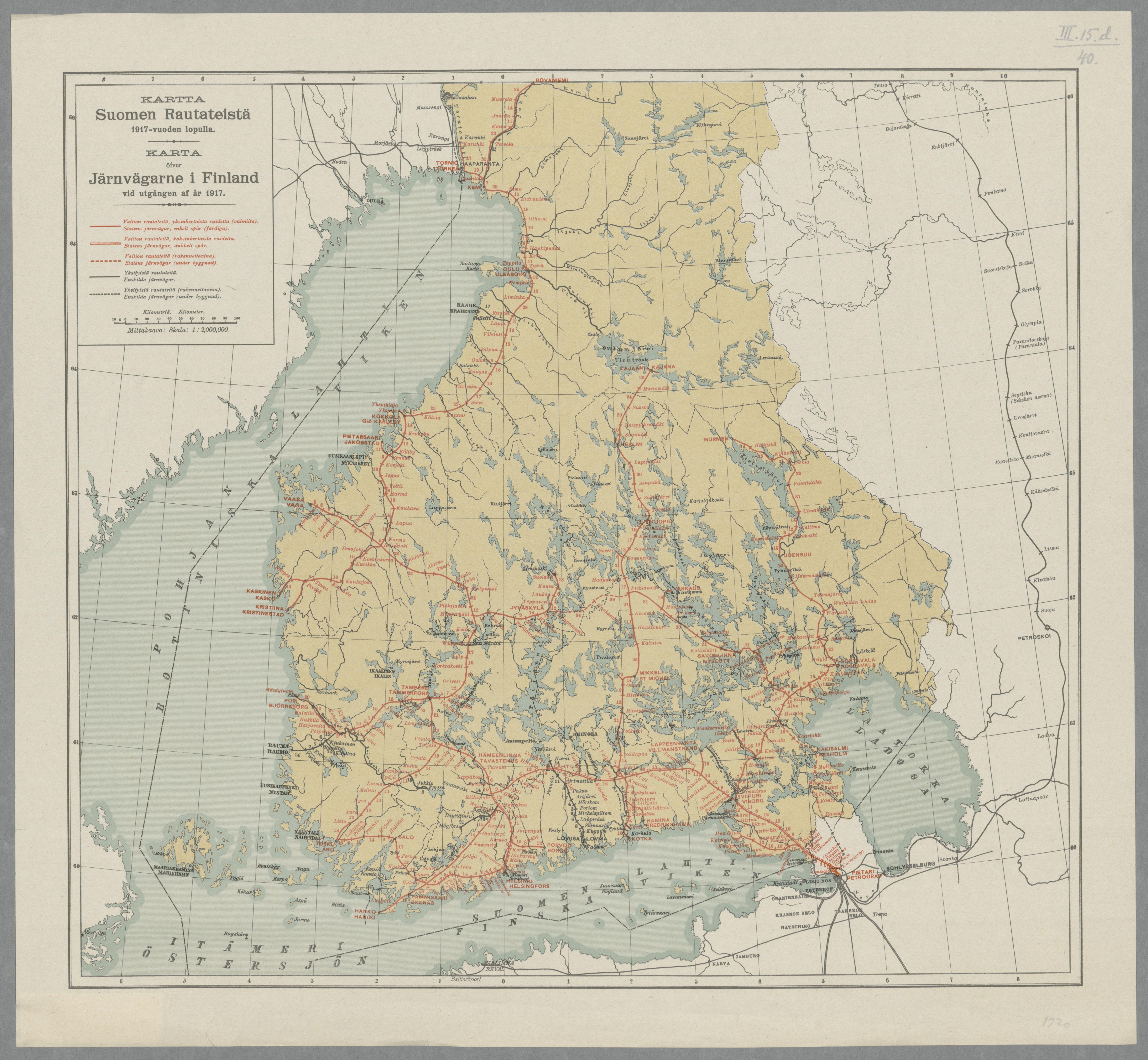 Kartta Suomen Rautateista 1917 Vuoden Lopulla Karta Ofver