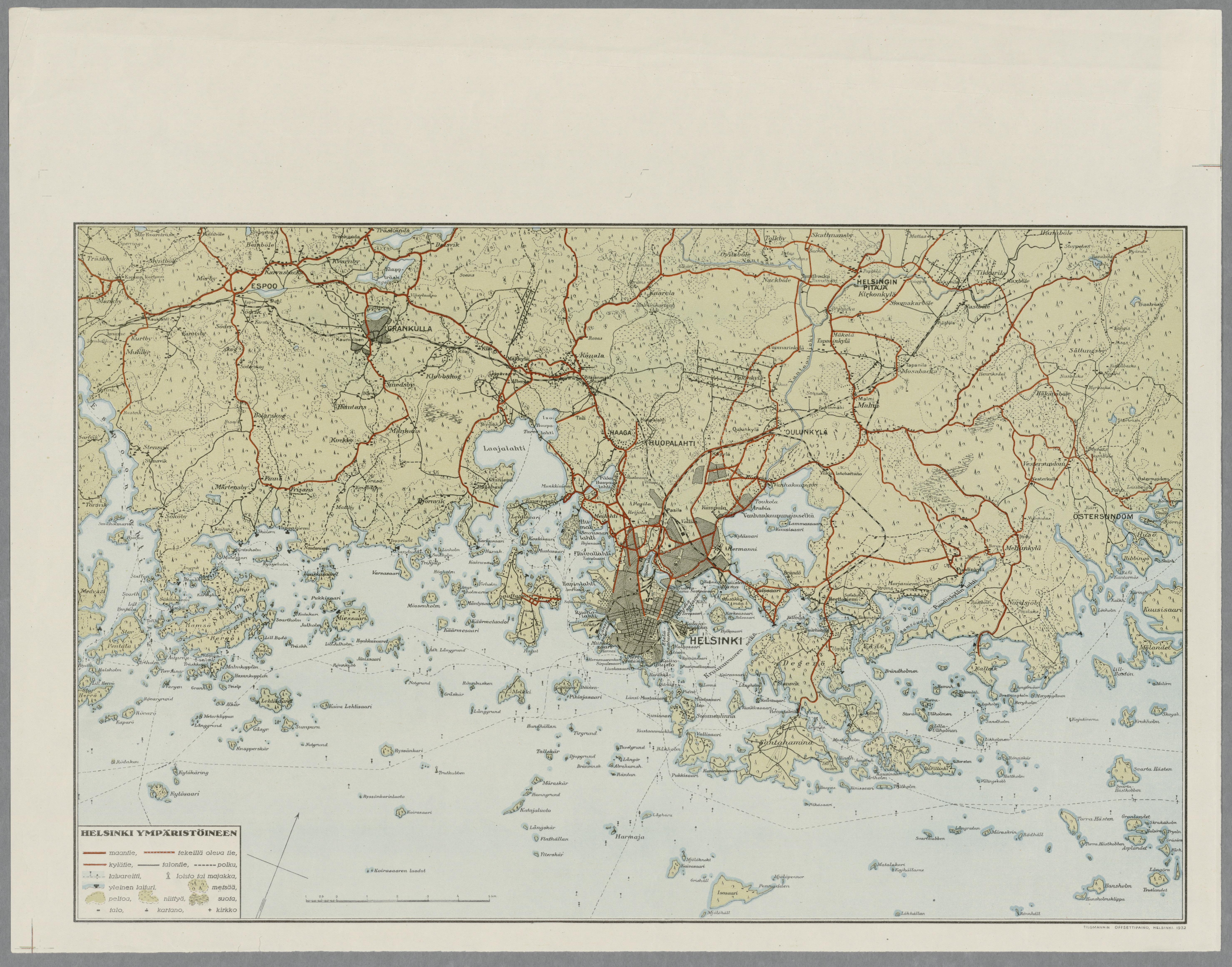 Helsingin Kartta 1932 Helsinki Ymparistoineen